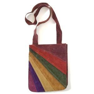 True Vintage 60's Suede Crossbody Bag Hippie Boho